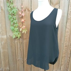 Athleta Sheer Split Layered Back High Low Tank SzM